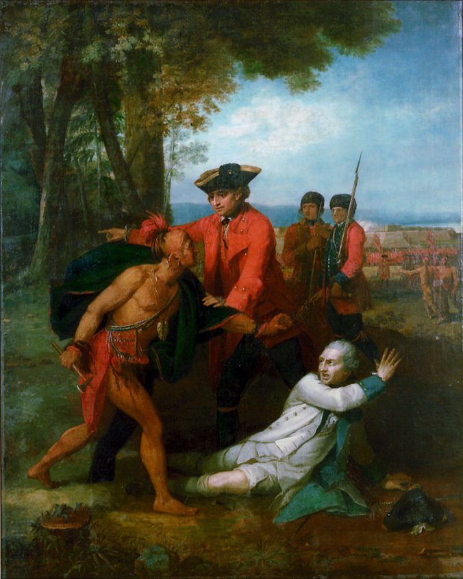 William Johnson Saving Baron von Dieskau from American Indian Warrior